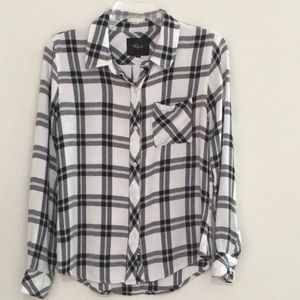 RAILS Black/White Plaid Soft Rayon Shirt Size S